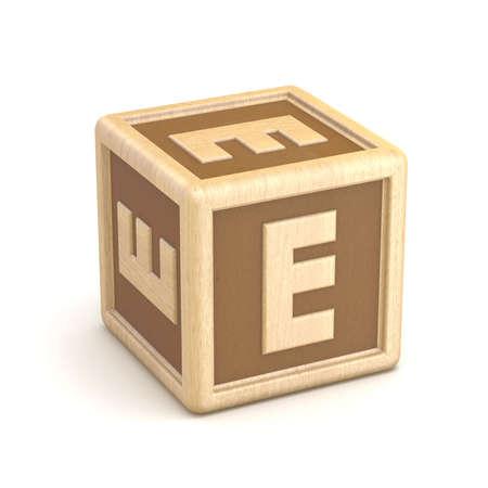 basic letters: Letter E wooden alphabet blocks font rotated. 3D render illustration isolated on white background Stock Photo