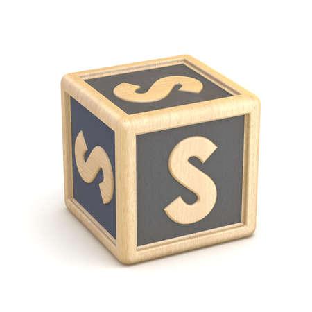 basic letters: Letter S wooden alphabet blocks font rotated. 3D render illustration isolated on white background Stock Photo