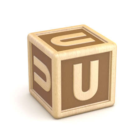 basic letters: Letter U wooden alphabet blocks font rotated. 3D render illustration isolated on white background