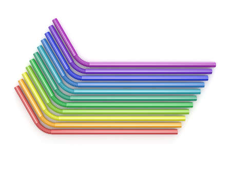 Drinking straws rainbow colors. Arranged, top view. 3D render illustration isolated on white background