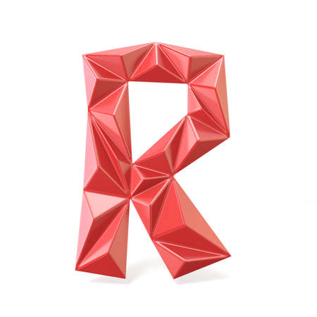 Red modern triangular font letter R. 3D render illustration isolated on white background