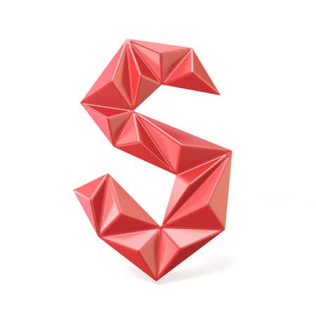 Red modern triangular font letter S. 3D render illustration isolated on white background