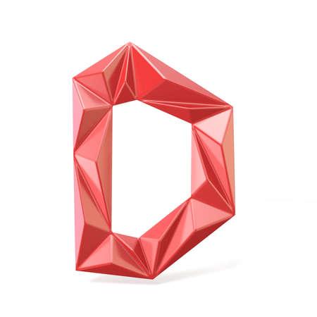 Red modern triangular font letter D. 3D render illustration isolated on white background