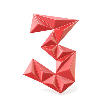 Red modern triangular font digit THREE 3 3D render illustration isolated on white background