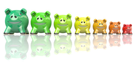 consumption: Saving energy consumption concept made of piggy banks. 3D render illustration isolated on white background