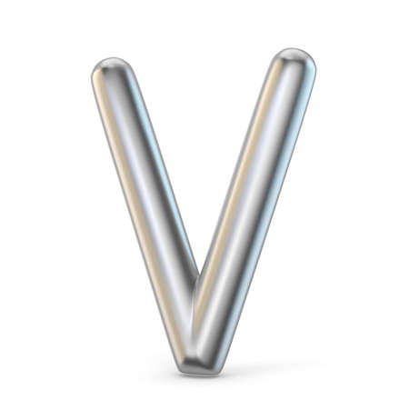 Metal alphabet symbol. Letter V 3D render illustration isolated on white background