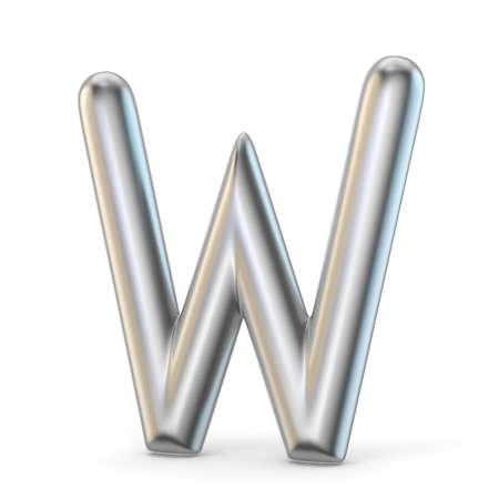 Metal alphabet symbol. Letter W 3D render illustration isolated on white background