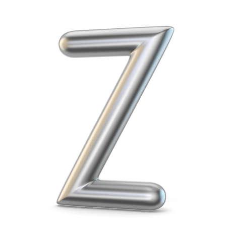 Metal alphabet symbol. Letter Z 3D render illustration isolated on white background