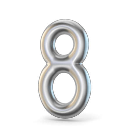 Metal silver font. Number EIGHT 8 3D render illustration isolated on white background Stock Photo