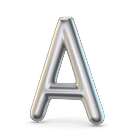 brushed aluminium: Metal alphabet symbol. Letter A 3D render illustration isolated on white background