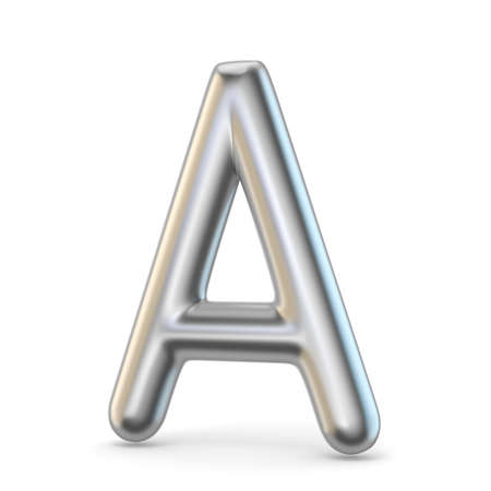 Metal alphabet symbol. Letter A 3D render illustration isolated on white background
