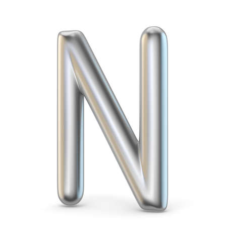 Metal alphabet symbol. Letter N 3D render illustration isolated on white background