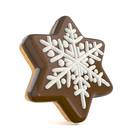 Chocolate Christmas gingerbread snowflake decorated with white lines. 3D render illustration isolated on white background Фото со стока