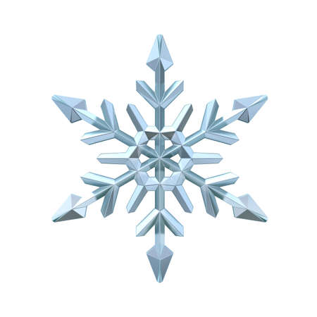 Snowflake 3D render illustration isolated on white background Фото со стока