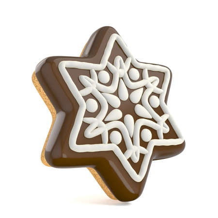 homemade bread: Chocolate Christmas gingerbread snowflake decorated with white lines. 3D render illustration isolated on white background Stock Photo