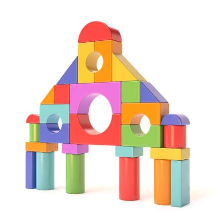 Plastic toy blocks, little castle front. 3D render illustration isolated on white background