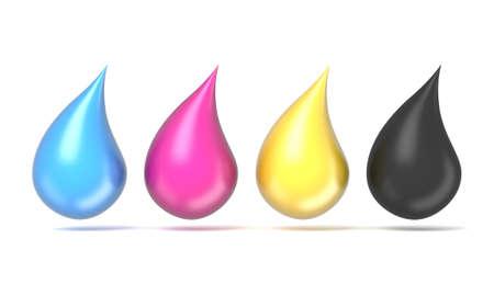 CMYK ink droplets sign. 3D render illustration isolated on white background