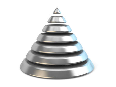 top 7: Steel cone with seven levels. 3D render illustration isolated on white background