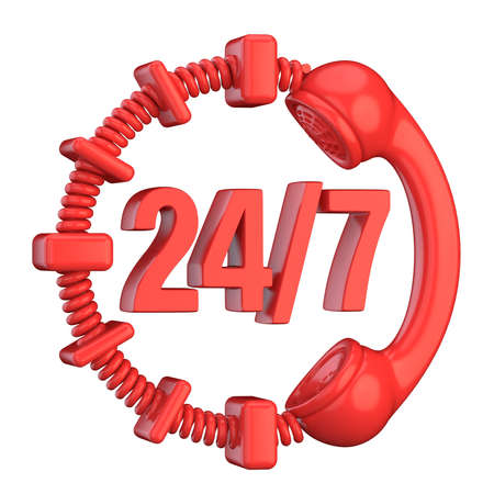 7 days a week: Red 24 hours a day and 7 days a week sign. 3D render illustration isolated on white background