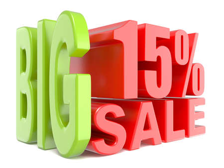 Big sale and percent 15% 3D words sign. 3D render illustration isolated on white background