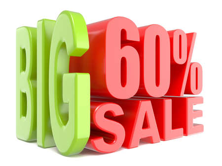 Big sale and percent 60% 3D words sign. 3D render illustration isolated on white background