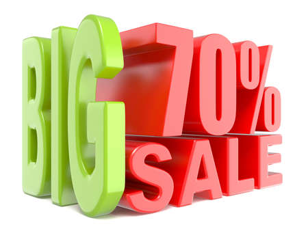 trade off: Big sale and percent 70% 3D words sign. 3D render illustration isolated on white background Stock Photo