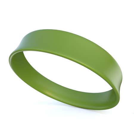 Green rubber bracelet. 3D render illustration isolated on white background