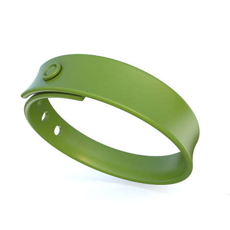 elastic band: Green rubber bracelet. 3D render illustration isolated on white background