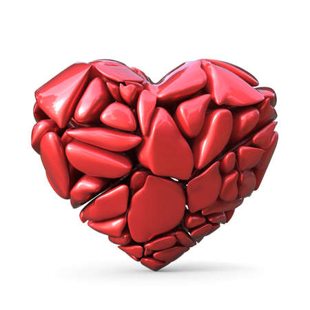 Broken red heart made of red rocks. 3D render illustration isolated on white background
