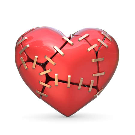 Broken red heart joined with metal staples. 3D render illustration isolated on white background