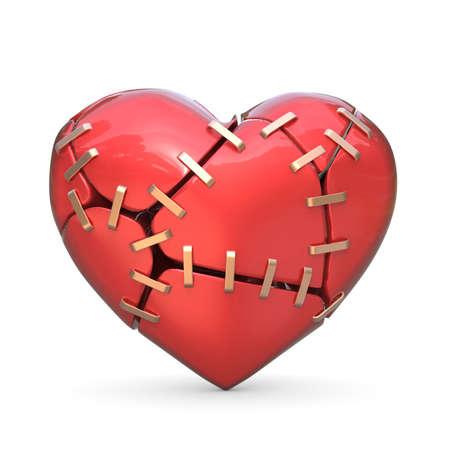 Coeur rouge brisé rejoint avec des agrafes en métal. Illustration de rendu 3D isolée sur fond blanc