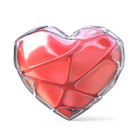 senseless: Red heart with broken iced shell. 3D render illustration isolated on white background