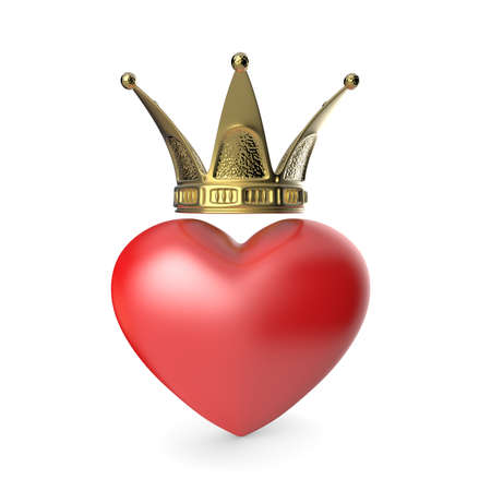 Crown heart. 3D render illustration isolated on white background