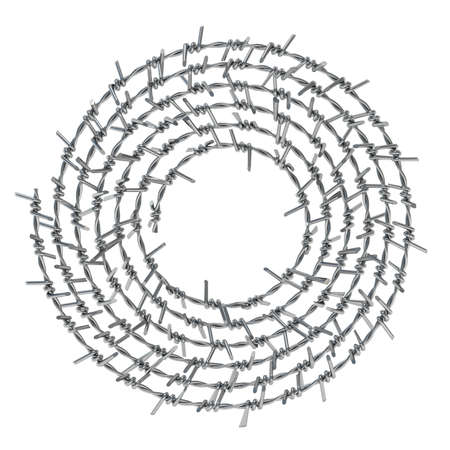 Spiral barbed wire front view 3D render illustration isolated on white background
