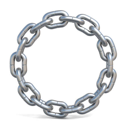 Circle chain 3D render illustration isolated on white background Stock Photo