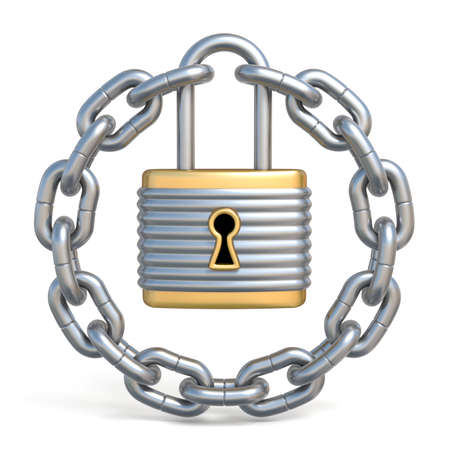 Circle chain with lock 3D render illustration isolated on white background Stock Photo