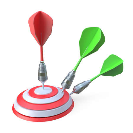 penetrating: Darts hitting a target 3D render illustration isolated on white background