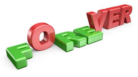 Word FOREVER met letter FRE naar beneden en OVER staan. 3D render illustratie geïsoleerd op een witte achtergrond