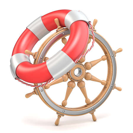 Wooden ship wheel and life buoy 3D render illustration isolated on white background