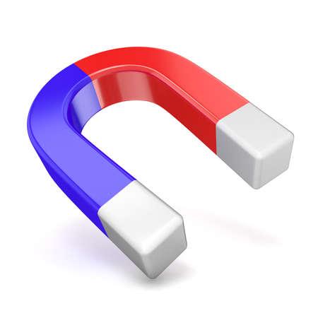 magnetismo: Maglia a ferro di cavallo rosso e blu, vista laterale 3D rendering illustrazione isolato su sfondo bianco Archivio Fotografico