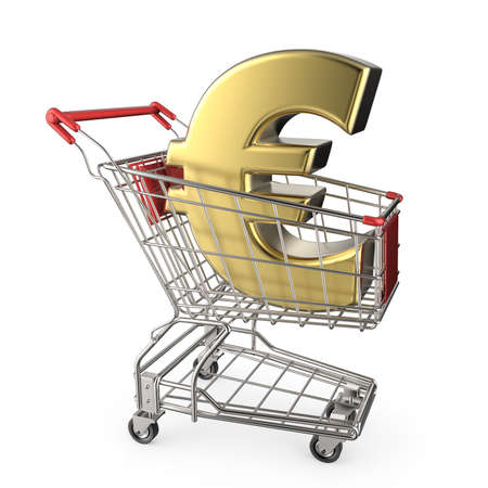 Red shopping cart with golden euro currency sign 3D render illustration isolated on white background