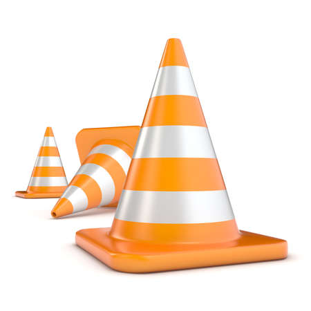 Traffic cones 3D render illustration isolated on white background Stock Photo