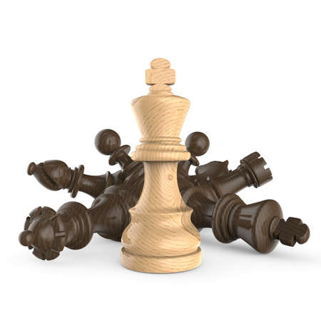 White wooden king standing over fallen wooden black chess pieces 3D render illustration isolated on white background