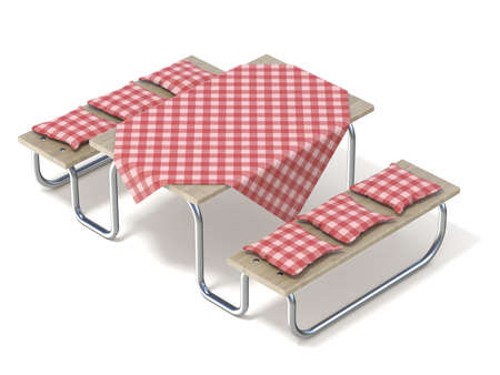 side table: Picnic table with red table cover and pillows. 3D render illustration isolated on white background Stock Photo