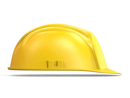Yellow safety helmet side view 3D render illustration isolated on white background