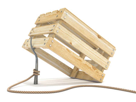 Trap made of wooden crate and rope tide to stick 3D render illustration isolated on white background Stock Photo