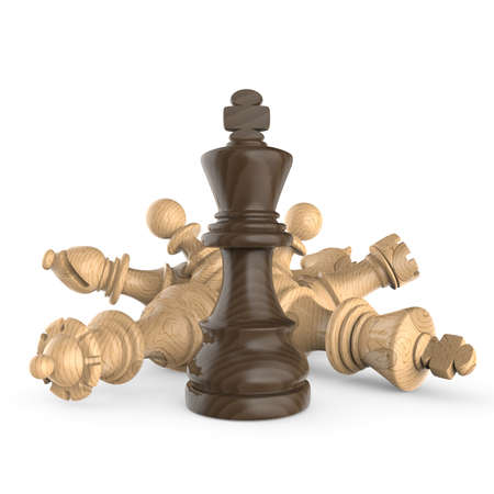 Black wooden king standing over fallen wooden white chess pieces 3D render illustration isolated on white background