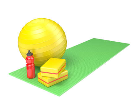 eva: Fitness ball, gym block and plastic water bottle on green yoga mat. Side view. 3D render illustration isolated on white background