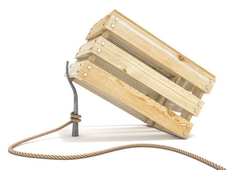 wood crate: Trap made of wooden crate and rope tide to stick 3D render illustration isolated on white background Stock Photo