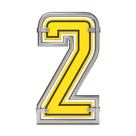 Framed traffic road sign FONT number 2 3D render illustration isolated on white background